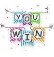 win sign with bunting flags vector image vector image