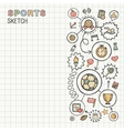 Sport hand draw integrated icons set on paper vector image