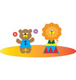 a circus show of a bear and a lion vector image