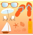 Beach set items for a holiday vector image