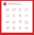 16 banking icons vector image vector image