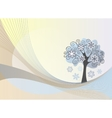Abstract lines background with winter tree vector image vector image