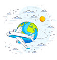 airlines air travel with plane airliner and vector image