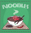 asian noodles naengmyeon or soba with shrimp vector image vector image