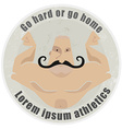 Athletic emblem with mustached bodybuilder torso vector image vector image