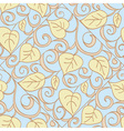 Autumn blue seamless floral pattern vector image