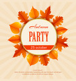 autumn party flyer template with leaves vector image