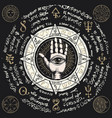 banner with open hand with all seeing eye symbol vector image vector image