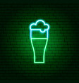 beer glass neon sign vector image vector image