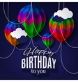 Birthday card with balloons in the style of folded vector image vector image