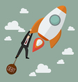 Businessman try hard to hold on a rocket with debt vector image vector image
