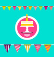 cake with flags celebration invitation card flat vector image vector image