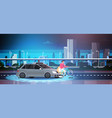 car hit man on bike on road over city background vector image vector image