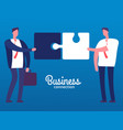 cartoon businessmen with puzzles business vector image vector image
