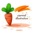 cartoon carrot on the white vector image vector image