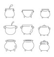 cauldron kettle halloween icons set outline style vector image vector image