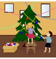 Children decorate Christmas tree vector image vector image