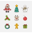 Christmas set icons vector image vector image
