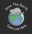 cute cat sleep on earth vector image vector image