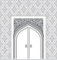 door in muslim oriental house facade arabic vector image