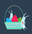 easter bunnies sleeping in a wicker basket with vector image vector image