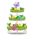 elegant tiered shelf with decorated shelves green vector image