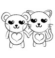 figure enamored bear and cat couple animals vector image vector image