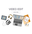 Flat design banner for video edition vector image