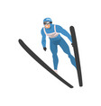 freestyle skier jumping male athlete character in vector image