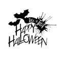 Halloween text on flying bat silhouette vector image vector image