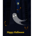 halloween urban scene with ghost and bats vector image vector image