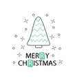 hand drawn christmas tree with a phrase merry vector image