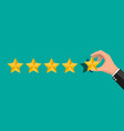 hand puts rating reviews five stars vector image vector image