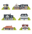 houses set suburban american houses exterior flat vector image