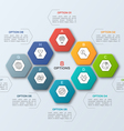 infographic template with hexagons 8 options vector image vector image