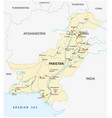 islamic republic pakistan road map vector image vector image