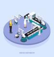 isometric smart industry background vector image