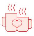 love mugs flat icon cups with heart pink icons in vector image