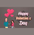 man giving woman pink heart shape air balloons vector image