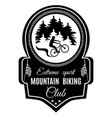 mountain biking extreme sport club emblem vector image