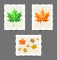 Postage stamps with maple leaf icons vector image