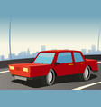 red car on city highway vector image