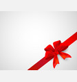 red ribbon with bow celebration on a white vector image vector image