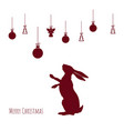 red silhouette of hare with christmas balls vector image vector image