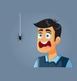 scared man being afraid a spider cartoon vector image
