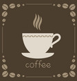 sign of coffee on brown background vector image vector image