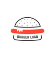 simple linear burger logo vector image vector image