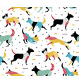 simple modern pattern with dogs in memphis style vector image vector image