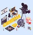star cinema isometric composition vector image vector image
