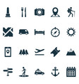 traveling icons set with suv roads mountains and vector image